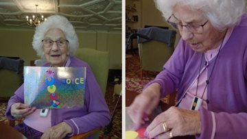 Tetbury care home Residents create rainbow art display