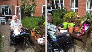 Redcar care home Resident spruces up garden for summer