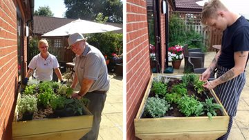 Care Home Resident grows herbs for home