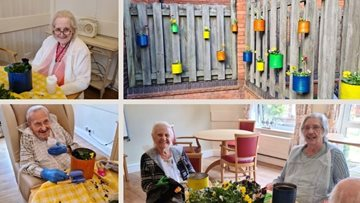 Upcycled tin cans turned into plant pots at Burntwood care home