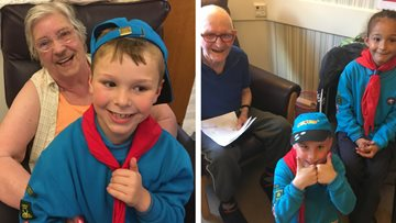 Beaver Scouts visit Burntwood care home.