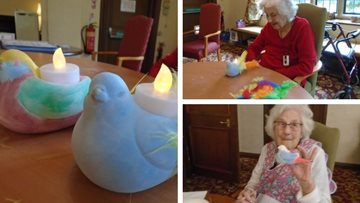 Tetbury care home create beautiful bisque bird tea lights