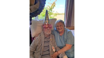 Resident enjoys surprise party for his 80th birthday