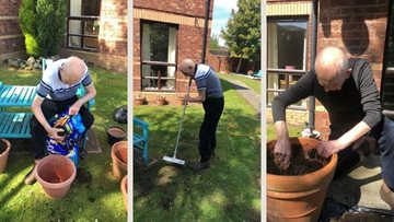 Residents at Falkirk care home enjoy a spot of gardening