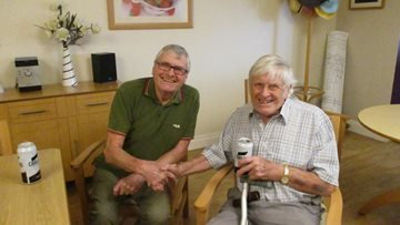 Resident at Highfield Reminisces with a Special Old Friend