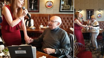 Manchester care home Residents join together for mealtime entertainment