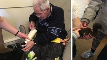 Four legged farm friends visit Burntwood care home