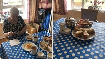 Falkirk care home Resident surprised with afternoon tea