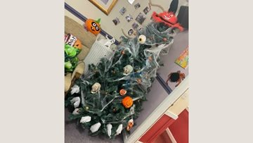 Getting creative with a Halloween tree at Ilkeston care home