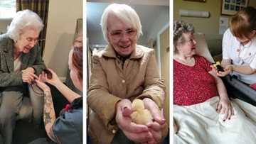Feathery friends join Residents at Holmfirth care home