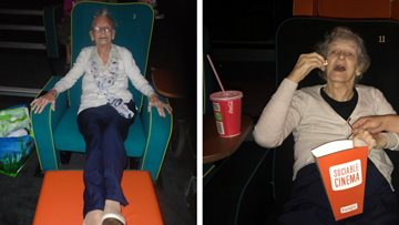Here we go again...Care Home Residents enjoy trip to local cinema