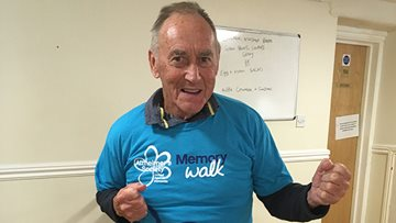 Local Care Home 82 year old resident training for Cardiff Memory Walk