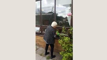 Resident loves to clean windows at Droylsden care home