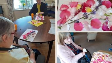 Stirling care home Residents create beautiful rose petal artwork