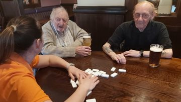 Sheffield care home enjoy lunch and dominoes