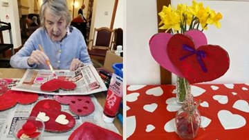 Surrey care home Residents make their own Valentine's Day decorations