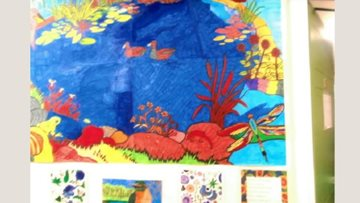 Colourful mural created by Residents at Leicester care home