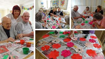 Remembrance Day tribute preparations at Caerphilly care home