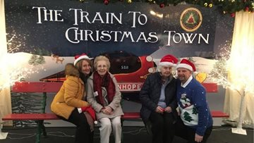 Newton Aycliffe care home Residents board the train to Christmas Town