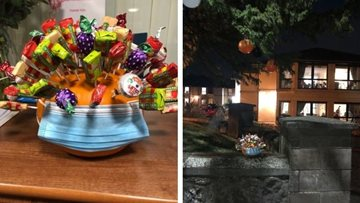 Westquarter care home leave treats outside for local children during Halloween sponsored walk