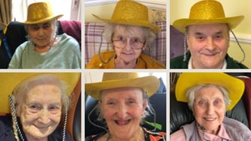 Residents enjoy a rootin' tootin' cowboy day at Oldbury care home
