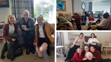 Valentine's party celebrations with local primary school at Boston care home