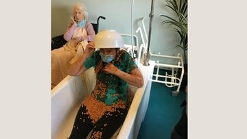 Bean bath madness at Wallasey care home