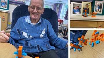 Ilkeston care home Resident enjoys building Lego people