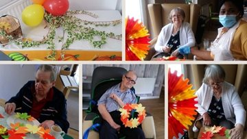 A splash of autumn colour with Harvest wreath making at Blackburn care home