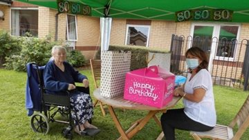 Leeds care home Resident celebrates 80th birthday