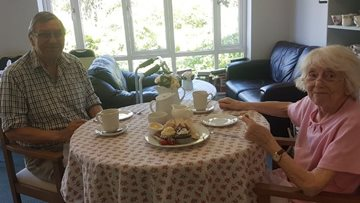 Residents reunite at Newcastle care home to enjoy a couple's afternoon tea