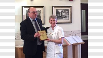 MP Graham Morris presents Jack Dormand with Nurse of the Year Award