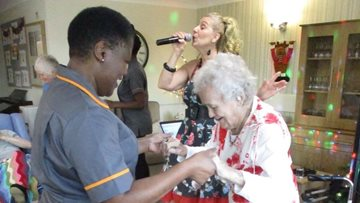 Residents put on their dancing shoes at Hinckley care home