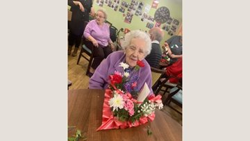 Floral arranging fun at Dudley care home