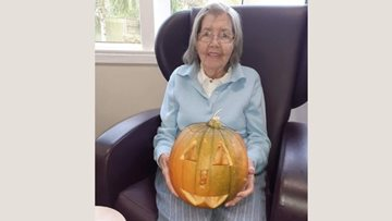 Pumpkin carving at Lostock care home