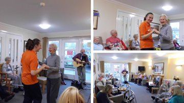 Folk singer entertains at Ayr care home