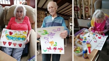 Printing with potatoes in Surrey care home