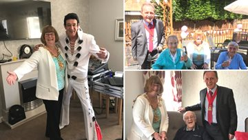 Elvis swings by Stockton care home to entertain Residents and Mayoress