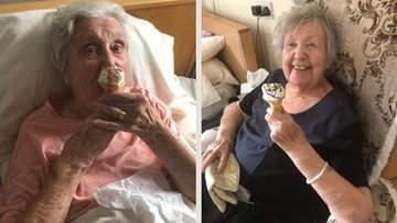 Ilkeston care home Residents enjoy 'National Ice Cream Day' tucked in their duvets