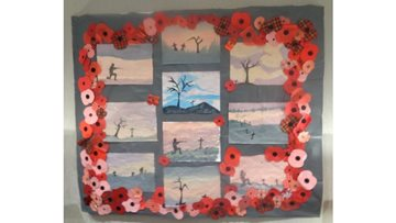 Residents pay their respects with Armistice Day wall art
