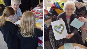 Valentine's crafts at Linlithgow care home