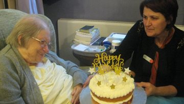 Birthday surprise at Belper care home