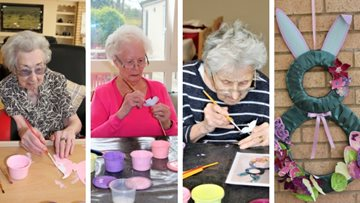 Residents enjoy 'eggcellent' craft session at Pencoed care home