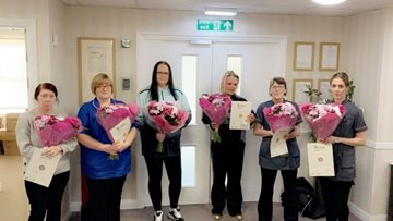 Team members celebrated for long service at Ashington care home