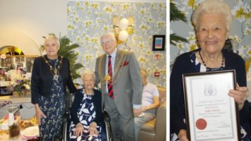 Lord Mayor of Leeds celebrates Resident's 100th birthday party at Augustus Court
